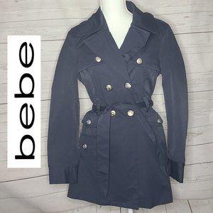 Bebe Blue Raincoat Metal Buttons
